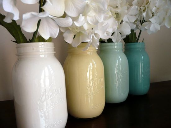 Painted Mason Jar Vases, pretty & simple