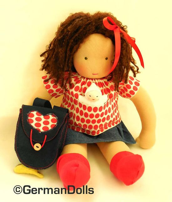 Olivia a 15 inch Waldorf inspired Backtoschool Doll by germandolls, $249.95