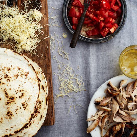 Grilled-Chicken Quesadillas // More Grilled Chicken Recipes: www.foodandwine.c... #foodandwine