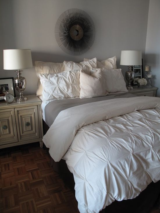 gray & white bedroom-so pretty!