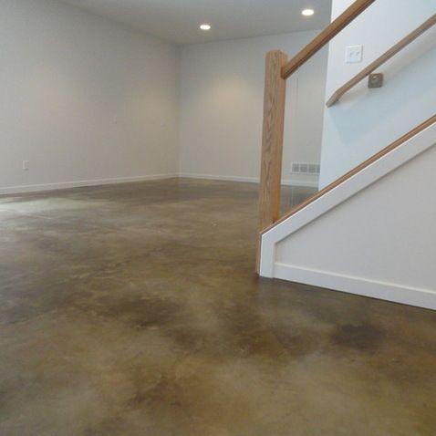 Stained Concrete Basement Floor - modern - basement - indianapolis - Dancer Concrete Design