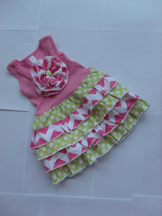 Chevron Dress Chevron Outfit Girls Dress by MyLittleFireflies, $38.00