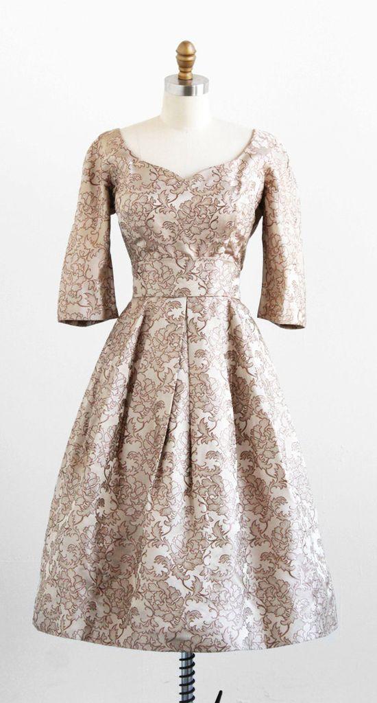 1950s champagne silk cocktail dress by Adele Simpson #fashion #floral #dress #1950s #partydress #vintage #frock #retro  #floralprint  #romantic #feminine