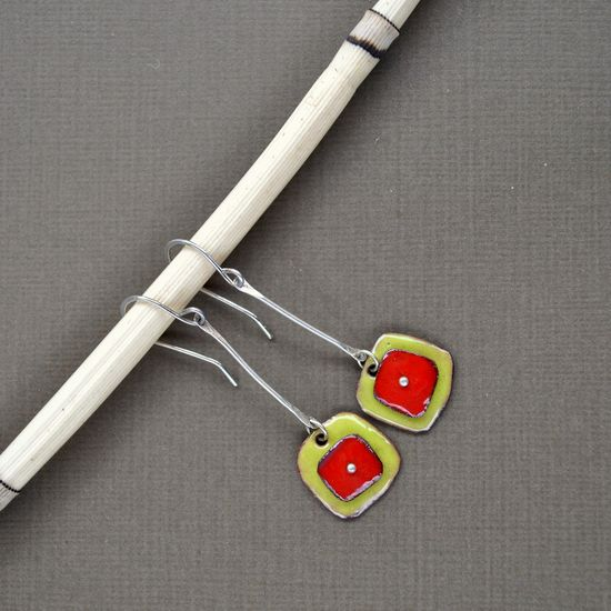 Red and Green Torch Fired Enamel Earrings on Sterling Silver Bones. $50.00, via Etsy.