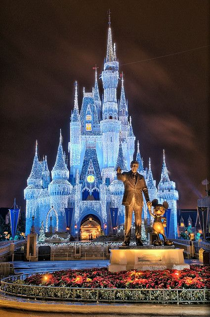 The Cinderella Castle during the holidays
