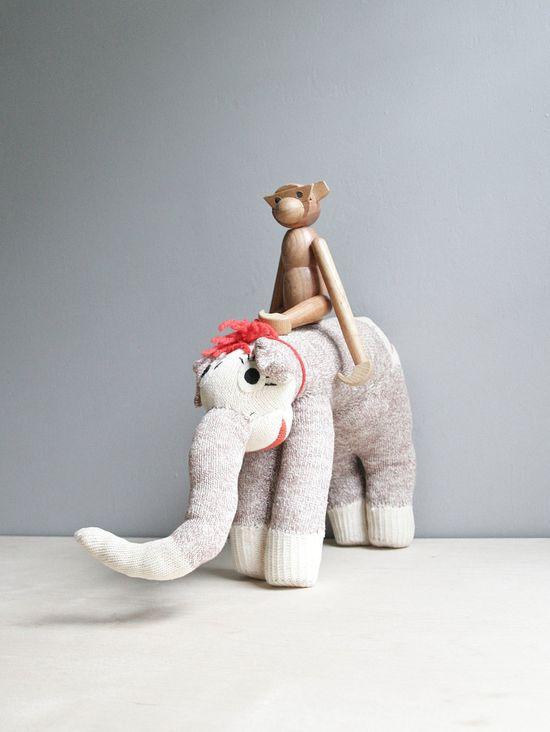 vintage handmade sock elephant