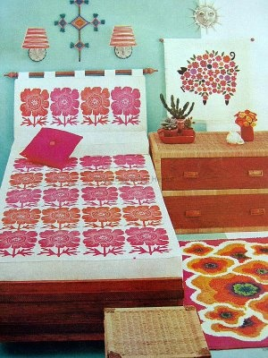 Vintage flower power bedroom decor.