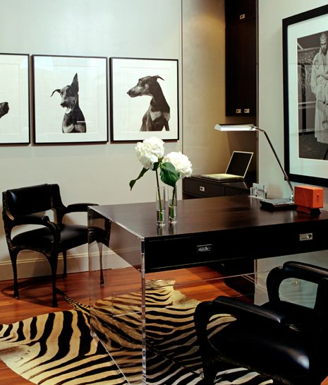 Ummm...is this my office?   Blair Gordon Design - Contemporary modern black office design with zebra cowhide rug, ...