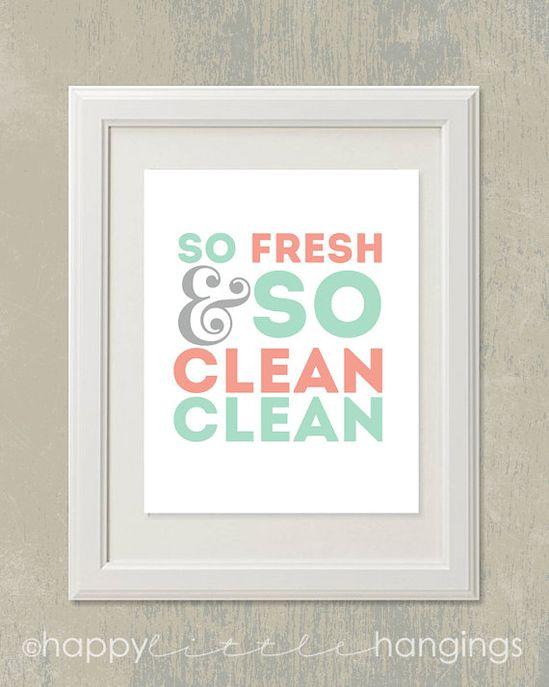 So Fresh & So Clean Clean / 8x10 digital art printable / mint and coral / bathroom on Etsy, $6.95