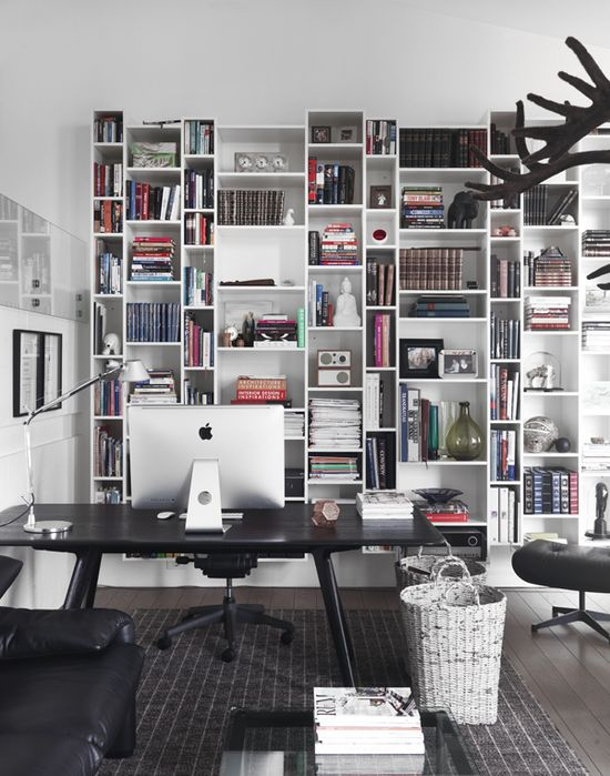 home office + shelving