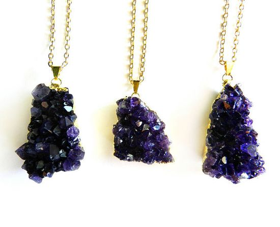 Purple Amethyst Necklace - Gold Dipped, Polished Crystal Cluster Point, Raw Gemstone Chunk, Summer Fashion Trend