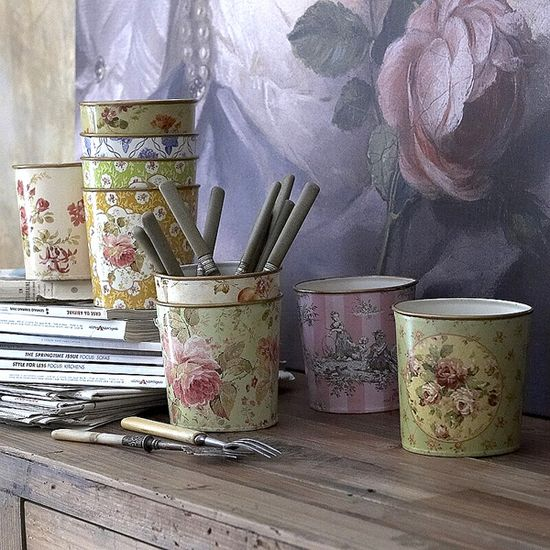 Pretty Pots. French Floral Cachepots. Great way to hide boring plastic flowerpots. Perfect for art brushes and cutlery too.