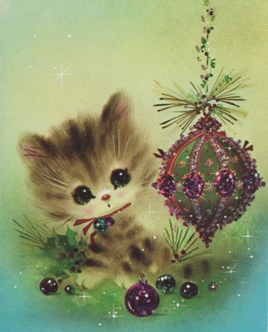1970s Kitten Christmas Card