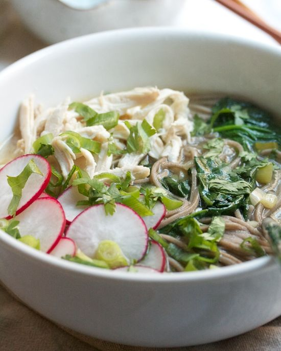 Chicken Soba Soup with Miso and Spinach