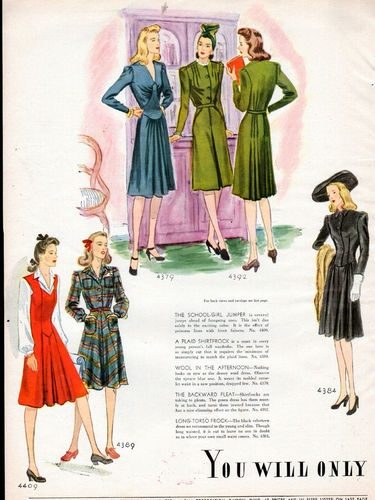 Elegantly lovely 1940s fashions from McCall.  #vintage #1940s #fashion #dresses