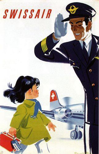 SwissAir • Guten Morgen Fraulein #travel #poster 1950