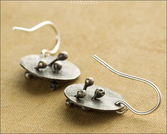 Hand Cut Oxidized Sterling Silver Earrings - Jewelry by Jason Stroud.