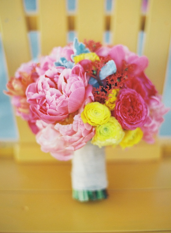 pink and yellow bouquet // photo by Braedon Photography // flowers by Dolce Designs Studio