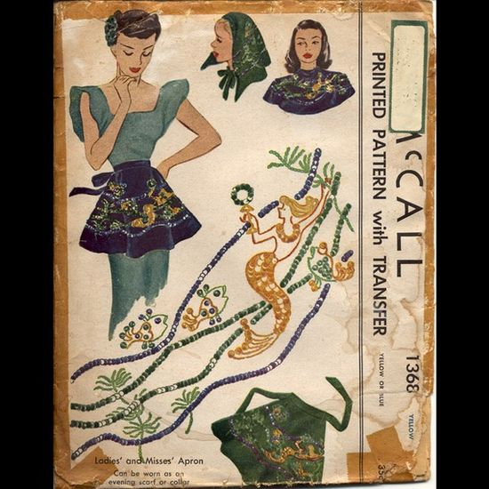 McCall 1368 Misses 1940s Mermaid Apron Pattern by CynicalGirl, $55.00