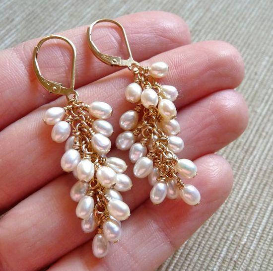 Pearl Clusters  Fresh Water Pearls and 14k by karinagracejewelry, $52.00