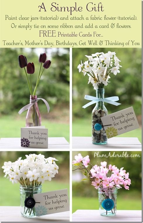 DIY Painted Mason Jars and Fabric Flower Tutorials…