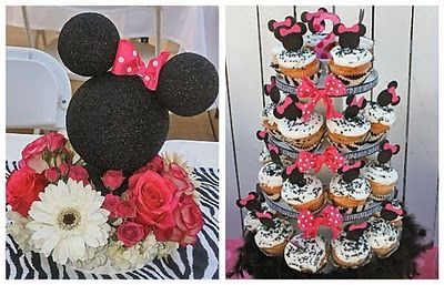 Minnie made with styrofoam balls and more Minnie Mouse party ideas.