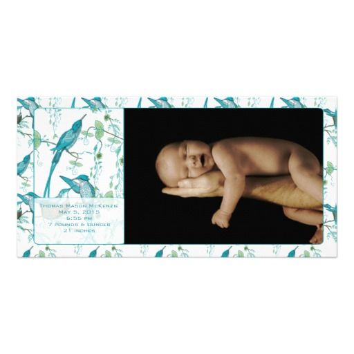 Baby Boy Vintage Baby Bird Picture Announcement Photo Greeting Card
