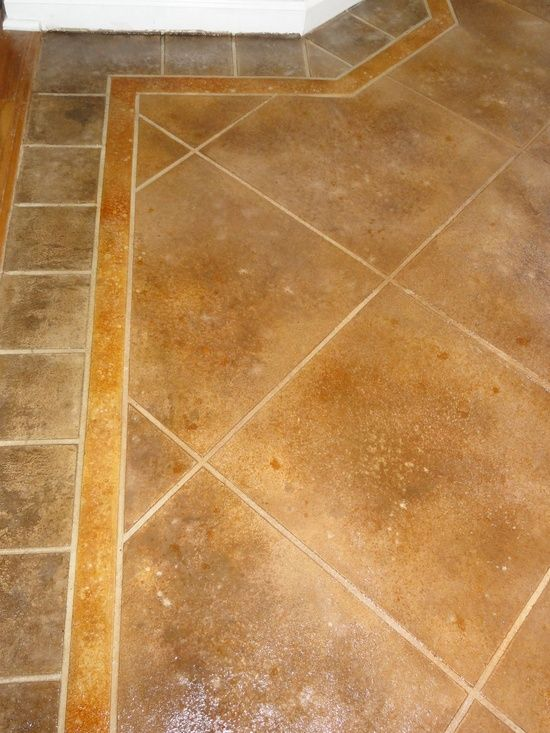 Stained concrete stone tile flooring look at an #modern floor design