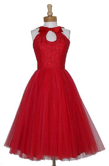 Vintage 1950's red tulle party dress with keyhole