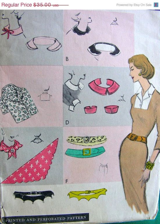 Who doesnt need a selection of dickies? SALE UNCUT Vintage 50s Fashion Accessories Vogue by anne8865, $30.80