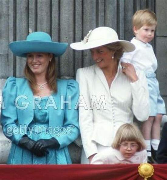 Diana and Sarah Ferguson on the Buckingham Palace balcony after the 1987 Trooping the Color