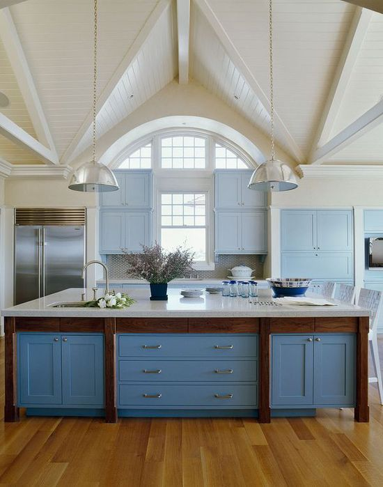 Blue kitchen designed by Sherrill Canet Interiors.