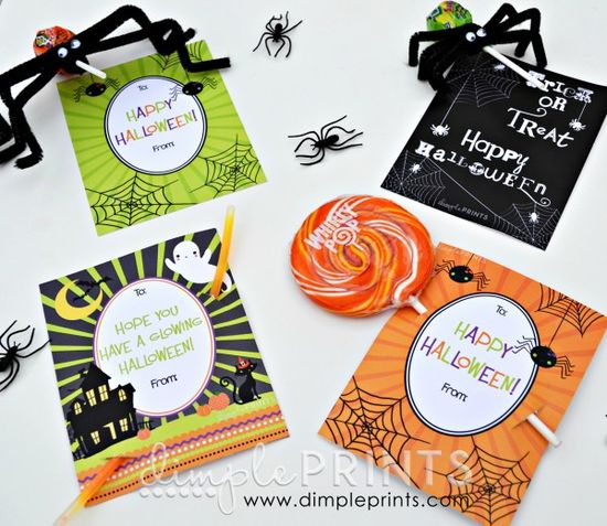 four Halloween printable tags from @DimplePrints- Carli