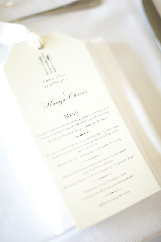 Wedding Reception Menu
