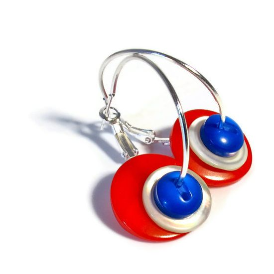 Red White Blue Earrings, Mod Jewelry, Patriotic Jewelry