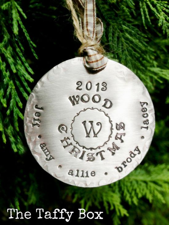 Hand Stamped custom Christmas ornament - your choice of ribbons and font styles! Gift a special family with a dated 2013 ornament made especially for them!