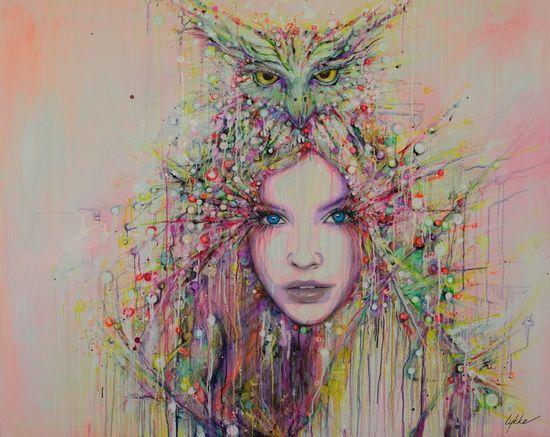 "Saatchi Online Artist: Lykke Steenbach Josephsen; Mixed Media, 2013, Painting ""Wisdom"""