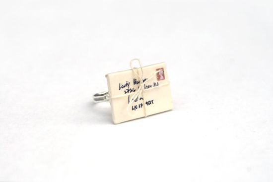 Letter Envelope Ring Tied With String Snail by PeachesandPebbles, £16.00