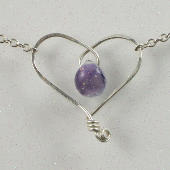 Purple Heart Necklace Sterling Silver Wire Jewelry