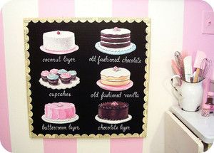 Vintage bakery inspired menu board by Everyday is a Holiday #kitchen #bakery #art #sign #pink #cupcakes $250.00 #gift    And the pink striped walls! Swoon!