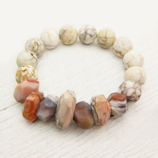 Peach Botswana Agate Bead Bracelet With Magnesite White by byjodi, $95.00