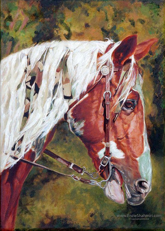 Giddy-up!  Horse Art Painting  Original Oil Painting by EnzieShahmiriDesigns, $350.00