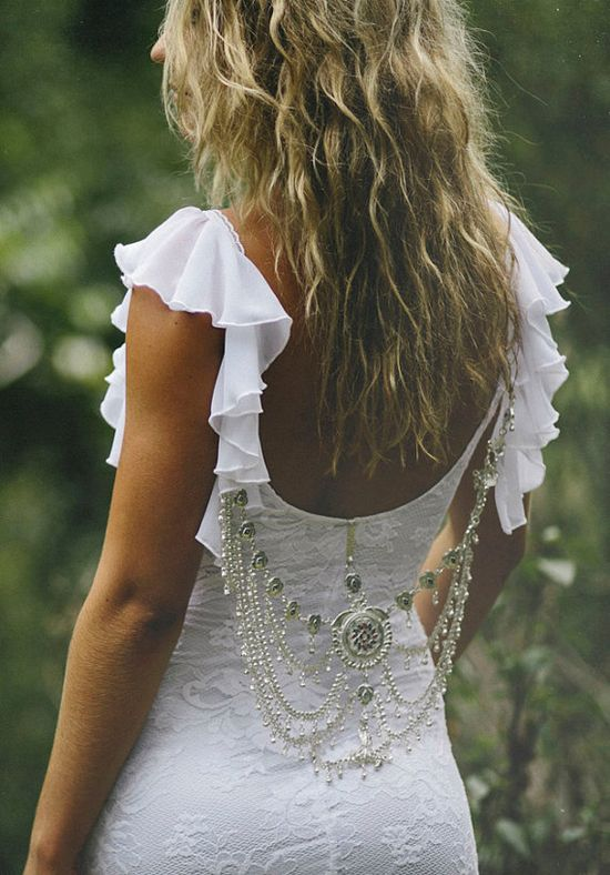 Striking low back lace wedding dress with frilly by Graceloveslace, $990.00