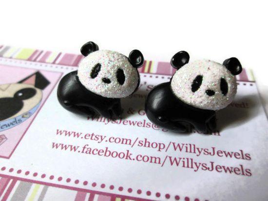 Panda Bear Stud Earrings. #panda #bear #animal #pandas #bears #earrings #studs #blackandwhite #china #kawaii #jewelry $5.00