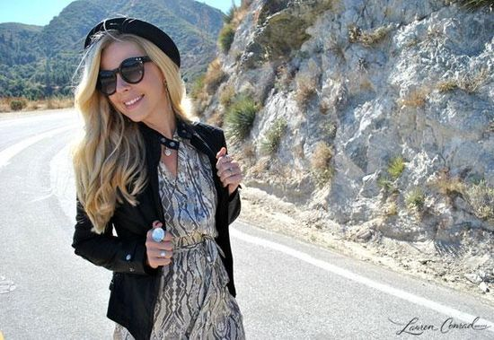 printed maxi + leather jacket = fall perfection