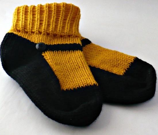 Adult #Handmade #Knitted Black and Goldenrod Yellow Maryjane Slipper Sock #etsyfollow $25.00