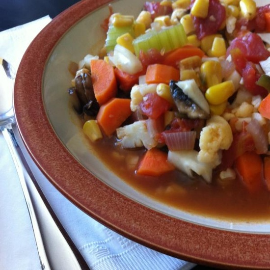 Homemade vegetable soup from Erica. Clean Eating.