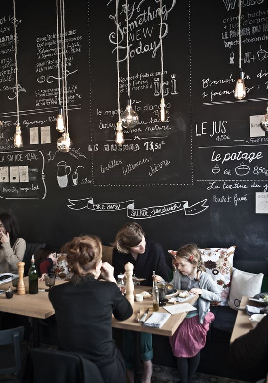 dining/cafe space: black chalkboard wall