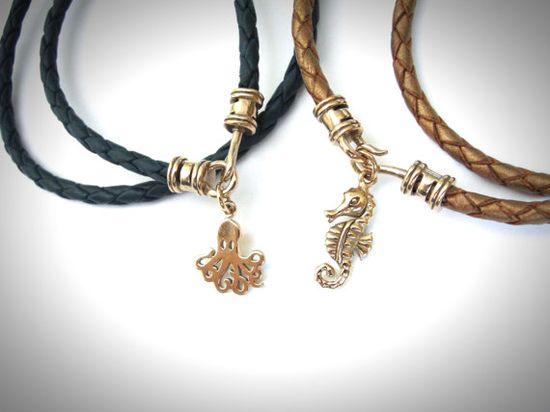 Bronze Gold Sea Creature Leather Wrap Bracelets from JewelryByMaeBee on Etsy.