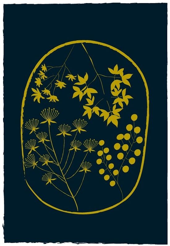 Chartreuse + Indigo = perfection.  Florist / Golden Yellow and Navy by dekanimal on Etsy
